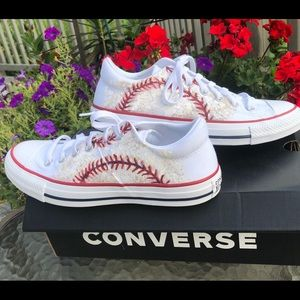 Baseball themed converse shoes W size 9